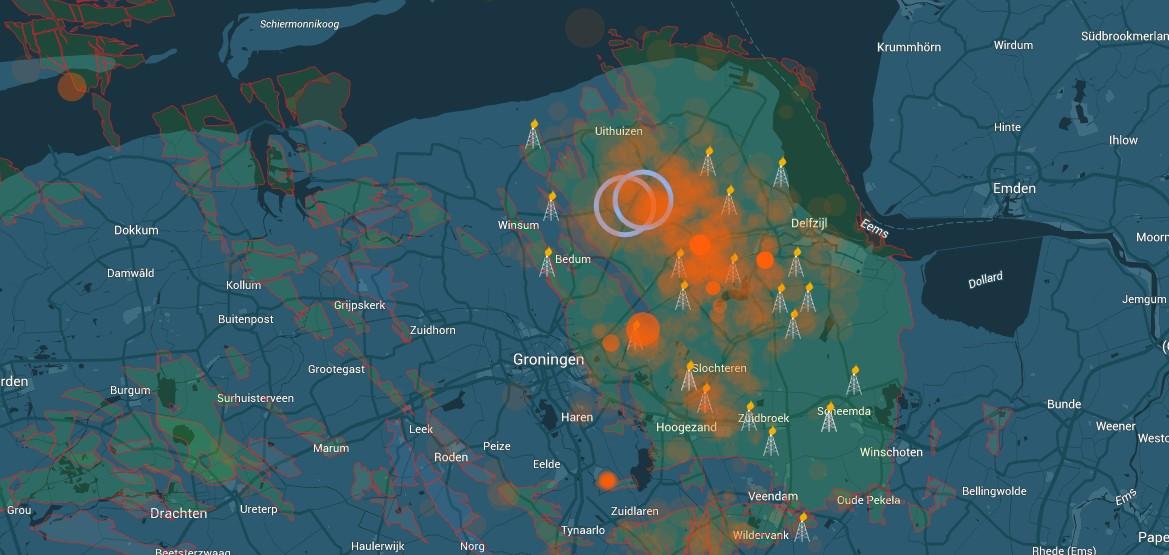 Interactieve kaart van aardbevingen in Groningen