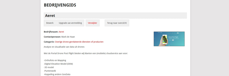 Aeret in de Dronewatch Bedrijvengids