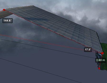 3d puntenwolk dak hoeken lengte afstand hoogte meten puntenwolk