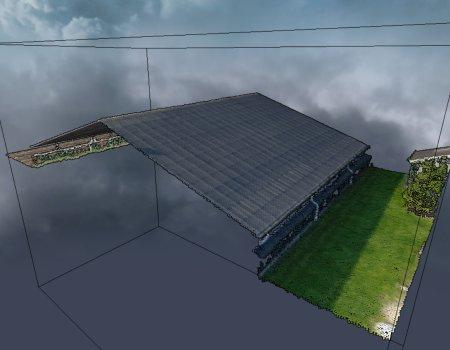 Dwarsdoorsnede 3D pointcloud dak zonnepanelen drone